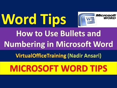 Word Tips : How to Use Bullets and Numbering in Microsoft Word : Word Basic Tutorial