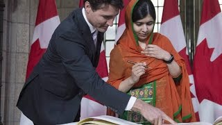 Malala Yousafzai and Justin Trudeau arrive on Parliament Hill