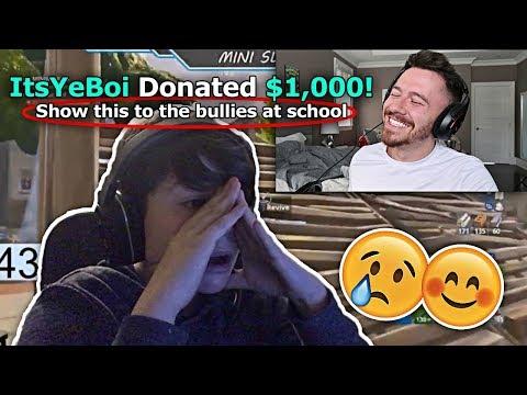 Donating $1000 To Random Fortnite Streamers on YouTube! *EMOTIONAL REACTION*
