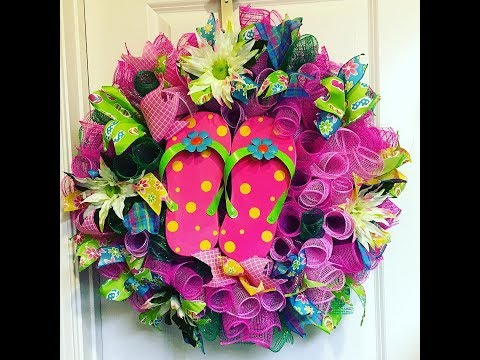 How to make a Curly Flip Flop Wreath- Taped Version