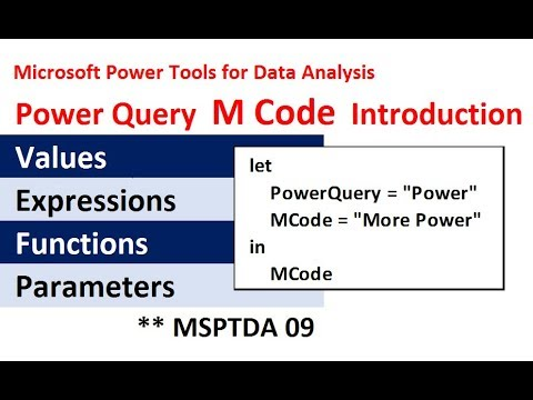 MSPTDA 09 Power Query Complete M Code Introduction: Values, let, Lookup, Functions, Parameters, More
