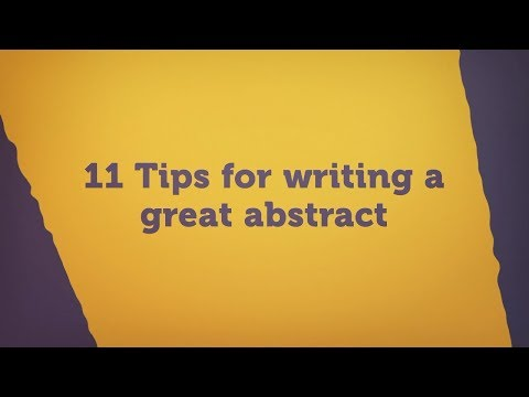 11 Tips for writing a great abstract