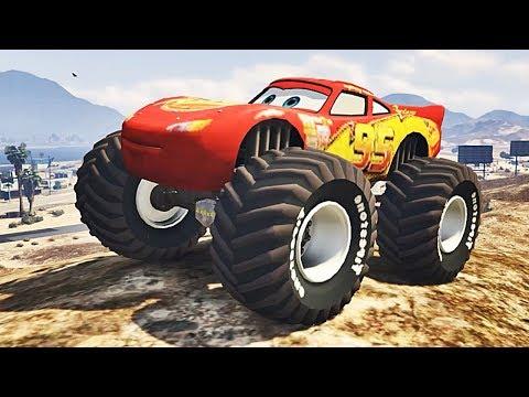 GTA V - Relâmpago Mcqueen (Monster Truck) CARROS MOD (GTA 5 Mods Gameplay)