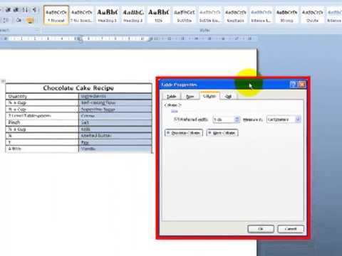 Changing Column Width And Row Height Microsoft Word 2007