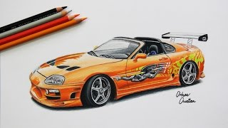 Toyota SUPRA | The Fast and The Furious | Car Drawing