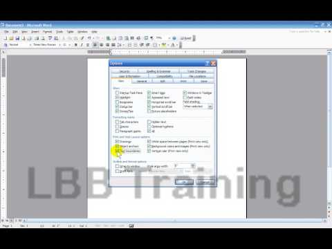 Tools, Options in Microsoft Word 2003
