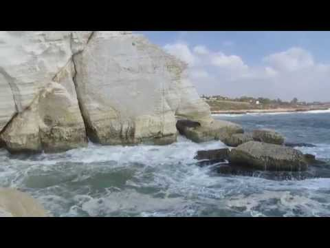 Rosh Hanikra (the border between Israel and Lebanon) - stormy sea and and the border