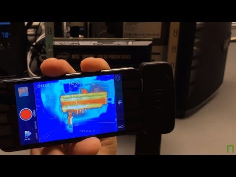 FLIR thermal imaging of an Intel Optane SSD DC P4800X PCIe NVMe under 2 min. of stress