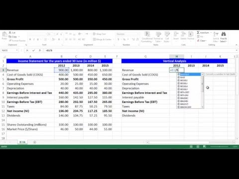 Vertical Analysis for Income Statement Items using Excel