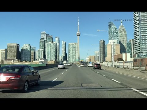 Morning Driving Around Toronto Through Downtown
