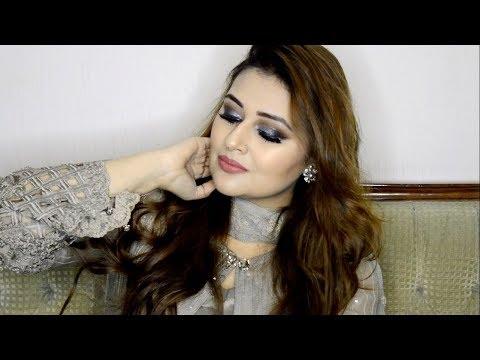 GRWM | Pakistani/Indian Wedding Guest Makeup Tutorial | Silver Smokey Eyes | Urdu/Hindi