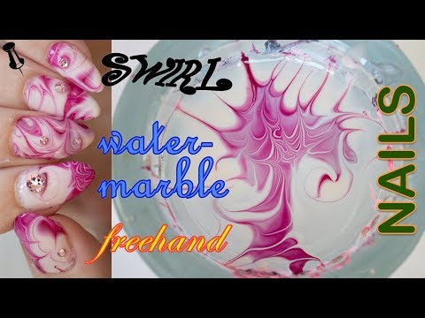 VERY EASY swirl water marble nails featuring swarovski crystals!