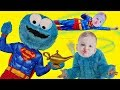 Super Cookie Monster And Superman Baby With quotWish I Could Be A Superheroquot Song For Kids