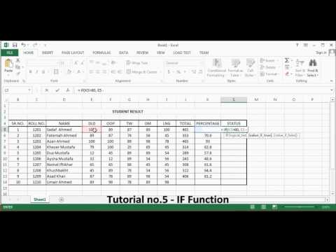Microsoft Excel. Tutorial no 5. IF Function By Khezer Mustafa in Hindi/ Urdu