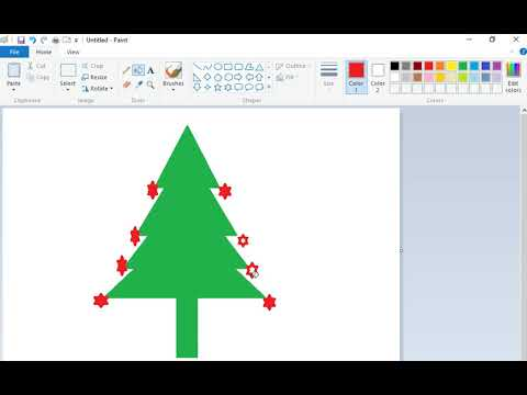 How to Draw Christmas Tree in MS Paint