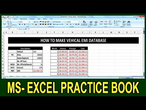 Exercise 88 How To Calculate Any Vehicle EMI In Ms Excel