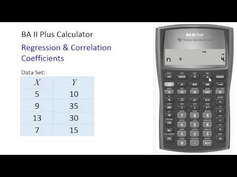 BAII Plus - Correlation and regression coefficients