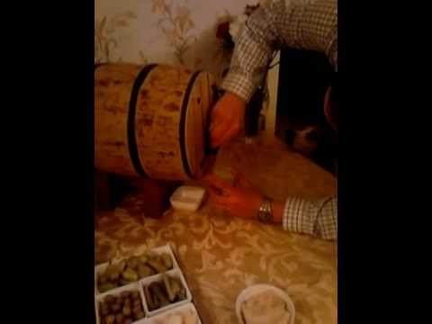 Working Whiskey Barrel Cake