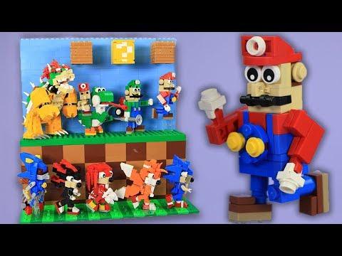 LEGO Mario + LEGO Sonic Custom Build Display | BRICK 101 Custom How To Build