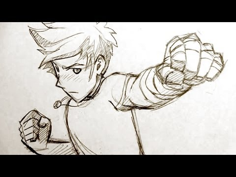 How to Draw Manga Fighting Pose: Punching Fists!