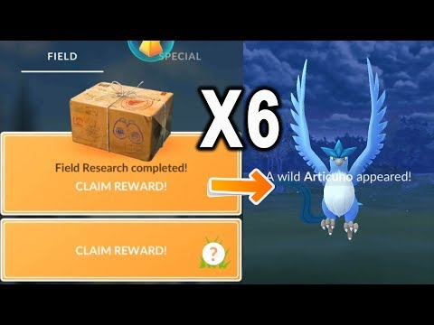 Articuno quest is here! Opening 6 legendary boxes research in Pokemon Go.