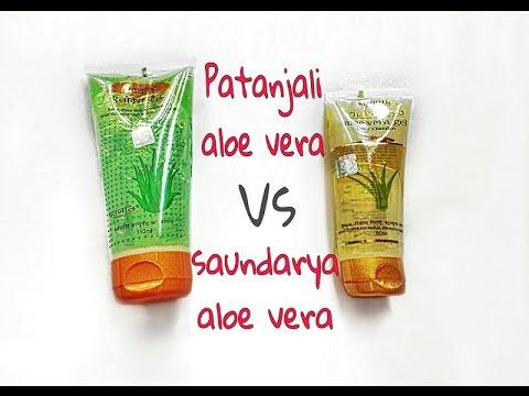 Review On Patanjali Aloe vera gel vs Saundarya aloe vera gel   beautyadda  