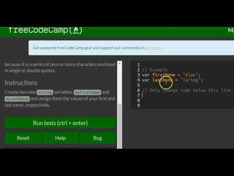 Declare String Variables, freeCodeCamp Basic Javascript