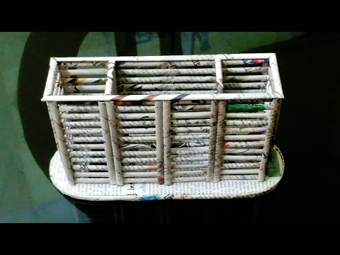 How to make a Newspaper Pen /Pencil / Spoon Holder / Kitchen Organizer