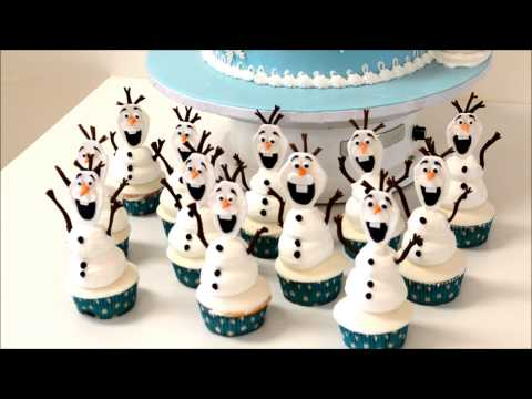 Frozen Elsa Theme cake example with Snowman Cupcakes