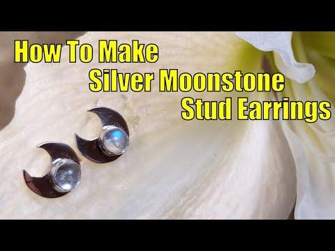 How to make beautiful silver moonstone stud earrings