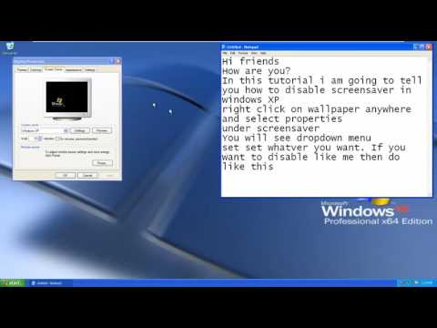 how to turn off or disable screensaver in windows xp