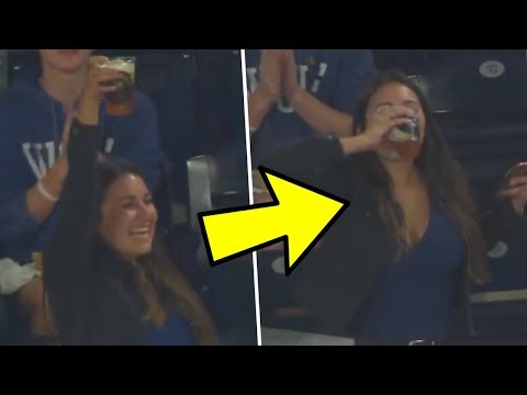 MLB Fan Uses Beer To Catch Foul Ball Then Chugs The Beer!