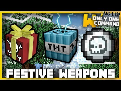 Minecraft - FESTIVE WEAPONS & TRAPS With Only One Command! (Bait Presents, Frost Bombs & more!)