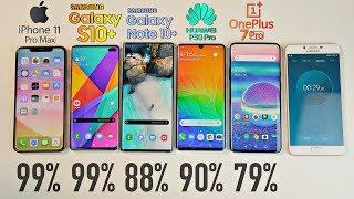 iPhone 11 Pro MAX vs Note 10 Plus vs S10 Plus vs OnePlus 7 Pro vs P30 Pro Battery Drain Test!