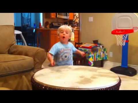 Georgie loves his African Drum Coffee Table