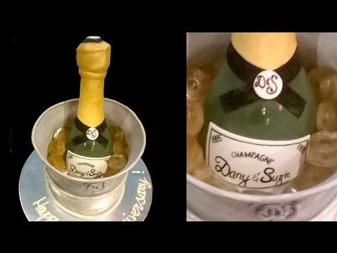 How to make a personalized 3D Champagne bottle anniversary cake