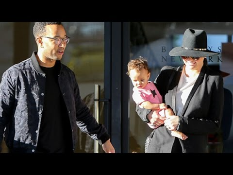 John Legend And Chrissy Teigen Take Baby Luna To Barneys