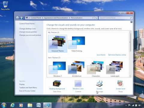 How to set a theme and screen saver in Windows 7