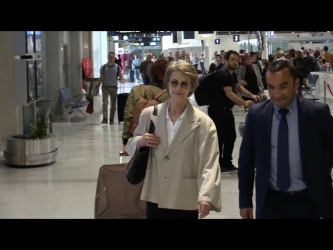 EXCLUSIVE : Charlotte Rampling arriving at Nice airport for Cannes Film Festival