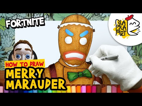 How To Draw Merry Marauder Skin Fortnite Gingerbread Man Drawing And