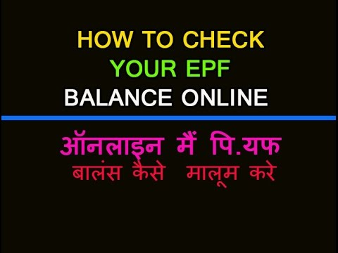 How to check  your EPF  Balance Online Hindi