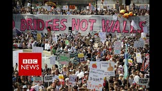 Trump in UK: Protests in Central London  - BBC News