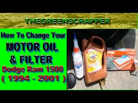 HOW TO DO AN OIL CHANGE - DODGE RAM 1500 TRUCK 2001 CHANGE YOUR MOTOR OIL & FILTER  ( 1994 - 2001 )