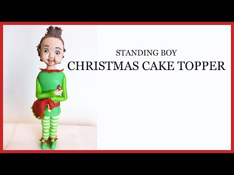 Christmas Cake Topper: Standing Boy Fondant Figure/Sugar Craft Modelling Topper in Elf Outfit