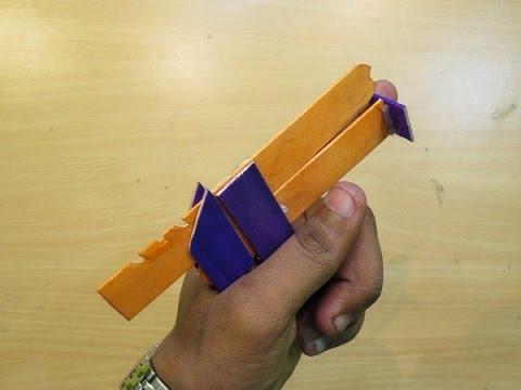 How to make a Powerfiull Popstick simple mini Gun that Shoots 3 Rubberbands - Easy Gun Tutorials
