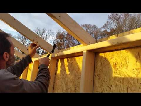 8x12x8 A Frame Shed Tutorial Part 19 Setting All Rafters/ Trusses And Framing Rear Wall