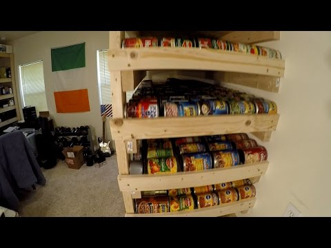 Pantry Storage Shelves with 1000 Can Food Rotation