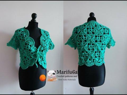 how to crochet bolero shrug with motifs chaleco free pattern tutorial by marifu6a