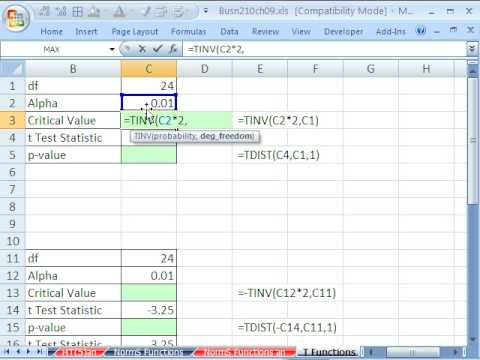 Excel Statistics 91: TINV & TDIST functions for Critical Value and P-value 6 examples