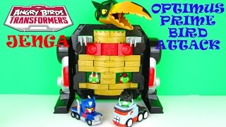 Angry Birds Transformers Jenga: Optimus Prime Bird Attack Game Playset Toy Review Hasbro Toys